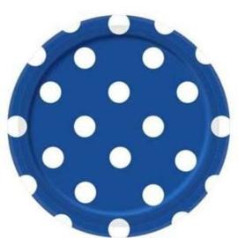 Blauw met witte stippen gebakbordjes ø 17 cm. 8 st.