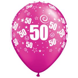 Ballon fuchsia cijfer 50 ø 27,5 cm. 6 st.