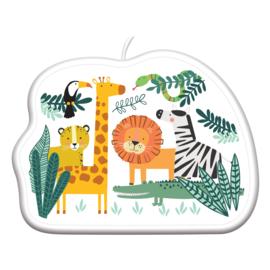 Jungle taart kaars Get Wild 8 x 6,5 cm.