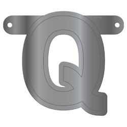 Banner letter Q metallic zilver