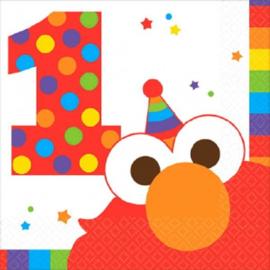 Sesamstraat servetten 1e verjaardag 25 x 25 cm. 16 st.