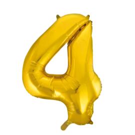 Folieballon cijfer 4 goud 86 cm.