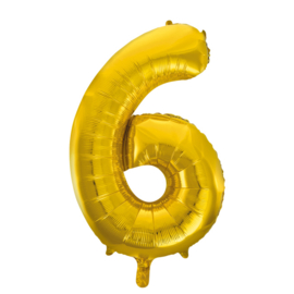Folieballon cijfer 6 goud 86 cm.