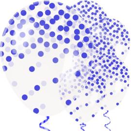 Blauw geprinte confetti ballonnen ø 27,5 cm. 6 st.