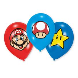 Super Mario Bros full color ballonnen ø 27,5 cm. 6 st.