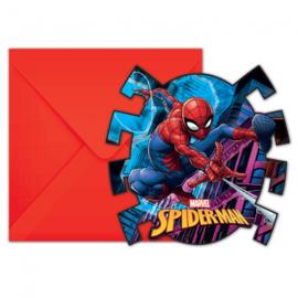 Spiderman uitnodigingen Team Up 6 st.