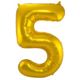 Folieballon cijfer 5 goud 86 cm. (Folat)