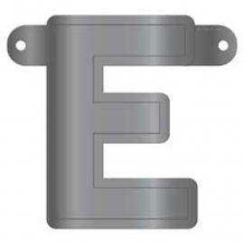 Banner letter E metallic zilver