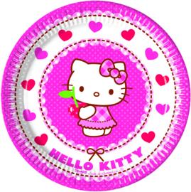 Hello Kitty Hearts gebakbordjes ø 19,5 cm. 8 st.