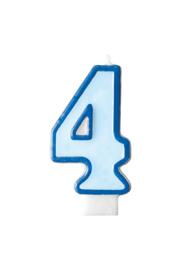 Taart kaars blauw 4 jaar 7,5 cm.