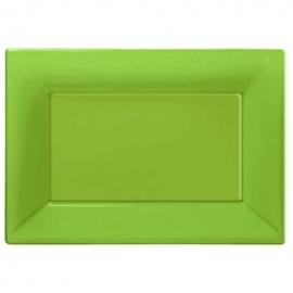 Lime groene wegwerp serveerschalen set 32 x 23 cm. 3 st.