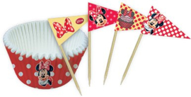 Disney Minnie Mouse cupcake vormpjes en prikkertjes 24 st.