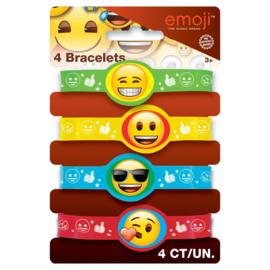 Emoji - Smiley uitdeel armbandjes 4 st.