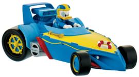 Disney Donald Duck Roadster Racers auto taart topper decoratie 10 cm.