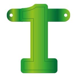 Banner cijfer 1 lime groen
