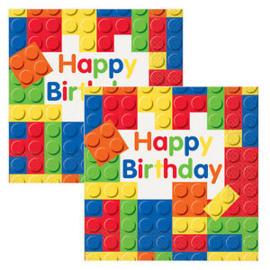 Building Blocks servetten happy birthday 33 x 33 cm. 16 st.