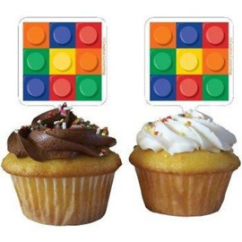 Lego Block Party cupcake prikkertjes 12 st.