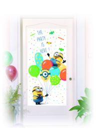 Minions balloons party deurposter 75 x 150 cm.