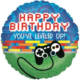 Happy birthday You've Leveled Up!  folieballon ø 46 cm.