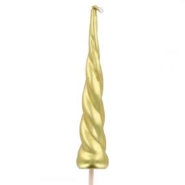 Unicorn taart kaars hoorn goud 10,5 cm.