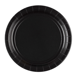 Zwarte wegwerp bordjes ø 22,8 cm. 8 st.