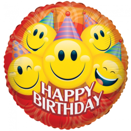 Emoji Smiley happy birthday folieballon 91,4 cm.