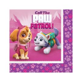 Paw Patrol Pink servetten 33 x 33 cm. 20 st.