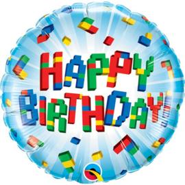Lego Block happy birthday folieballon ø 46 cm.