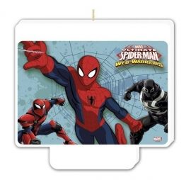 Spiderman Web Warriors verjaardags kaars 9 x 8,5 cm.