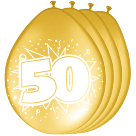 Gouden ballonnen 50 jaar ø 30 cm. 8 st.