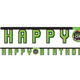 Game On slinger happy birthday 2,18 mtr. x H 17,7 cm.