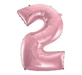 Folieballon cijfer 2 roze 92 cm.