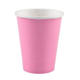 Roze wegwerp bekertjes 266 ml. 8 st.