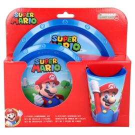 Super Mario Bros ontbijtset blauw 3-delig