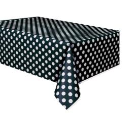 Zwart met witte stippen tafelkleed 1,37 x 2,43 mtr.