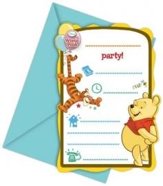 Disney Winnie de Poeh uitnodigingen Sweet Tweets 6 st.