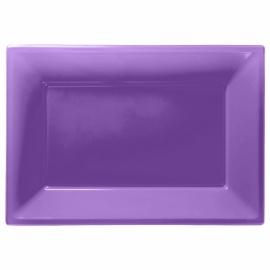 Paarse wegwerp serveerschalen set 32 x 23 cm. 3 st.