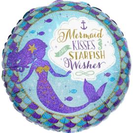 Zeemeermin folieballon Mermaid Wishes ø 45 cm.