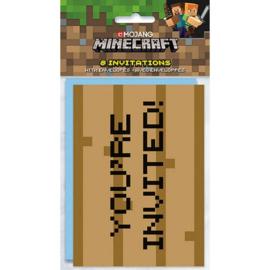 Minecraft uitnodigingen 8 st.