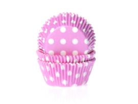 Roze met witte stippen cupcake vormpjes 50 st.
