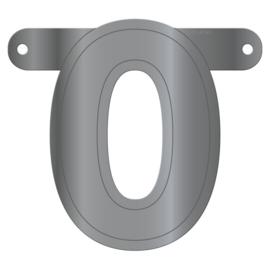 Cijfer banner 0 metallic zilver