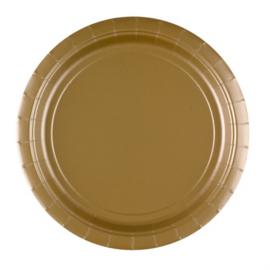 Gouden wegwerp bordjes ø 22,8 cm. 8 st.