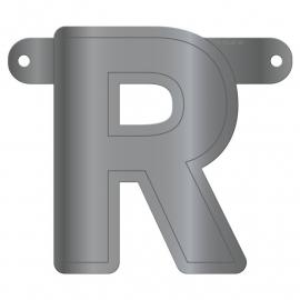 Banner letter R metallic zilver
