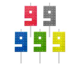 Lego Block Party taart kaars cijfer 9 - 5,5 cm. p/stuk