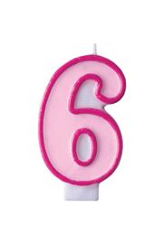 Taart kaars roze 6 jaar 7,5 cm.