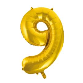 Folieballon cijfer 9 goud 86 cm.
