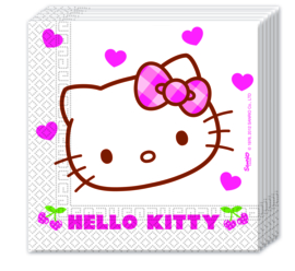 Hello Kitty Hearts servetten 33 x 33 cm. 20 st.
