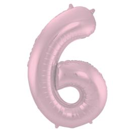Folieballon cijfer 6 pastel roze 86 cm.