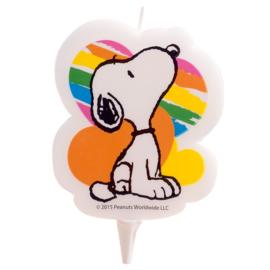 Snoopy Peanuts verjaardag taart kaars 7,5 cm.