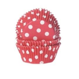Rode met witte stippen cupcake vormpjes 50 st.